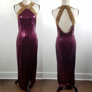 Vtg Niteline Della Roufogali Sequin Halter Gown 10